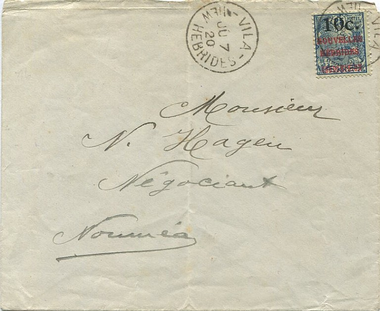 Letter to Noumea, 10c inter-colonial letter rate